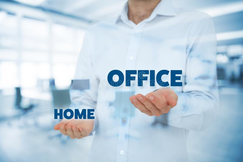 Manager compare home and office workplaces concept stock photos