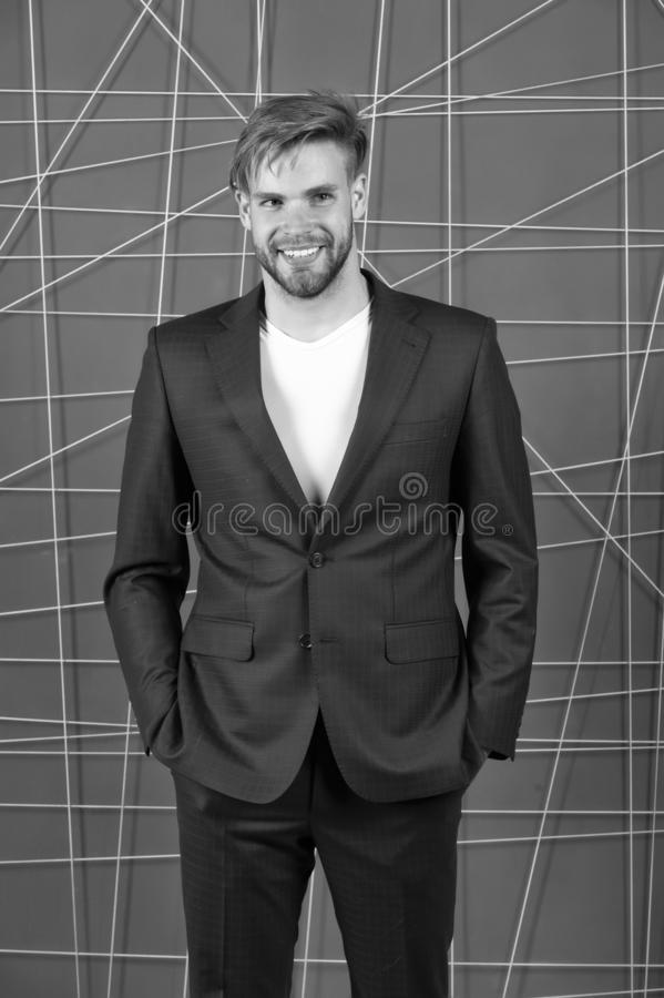 Manager confident wear perfect outfit. Guy office worker handsome appearance. Guy unshaved office manager. Manager dress. Code. Man well groomed manager wear stock photo