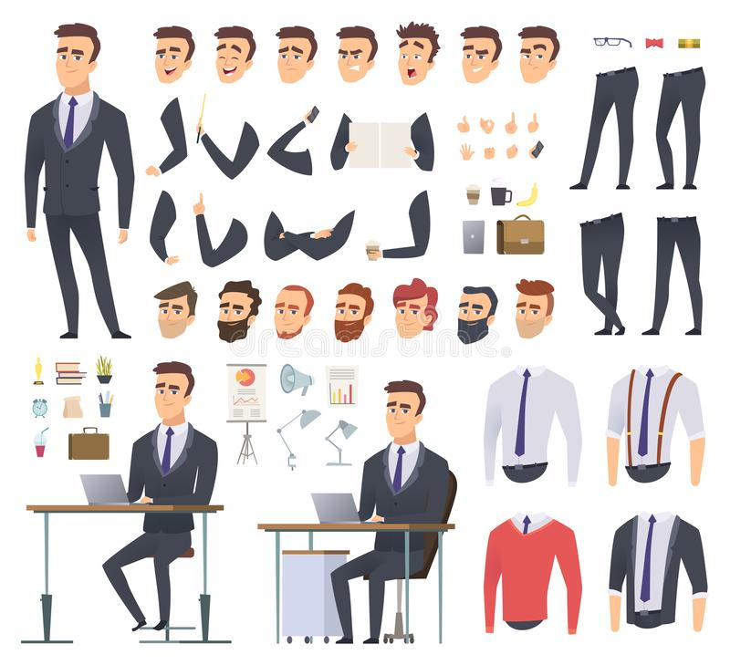 Manager creation kit. Businessman office person arms hands clothes and items vector male character animation project stock illustration