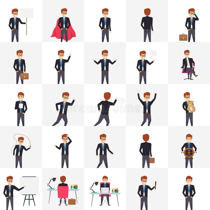 Manager in den verschiedenen Haltungen und in den Gefühlen 25 Illustrationen lizenzfreie abbildung