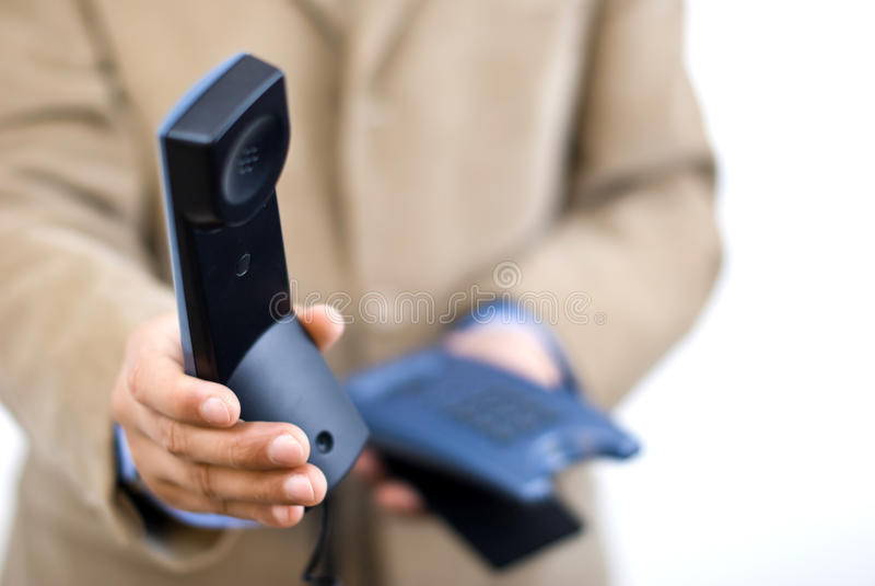 Manager, der einen Telefonaufruf nimmt stockfotos