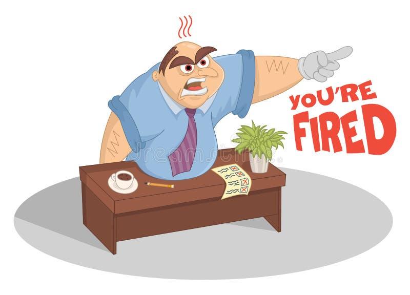 Manager, der mit dem Finger in seinem Büro schreit und zeigt Der lustige Karikaturvektorchef, der am Tisch sitzt, trat heraus die lizenzfreie abbildung