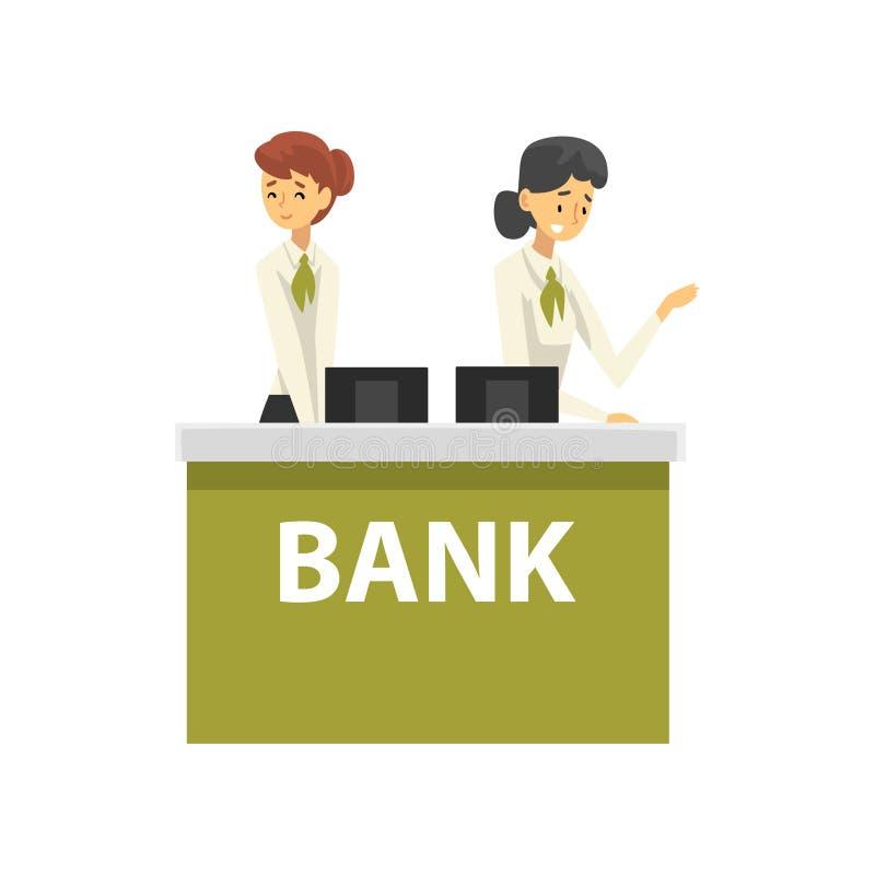 Manager, die am Aufnahme-Schreibtisch im Bank-Büro, weibliche Bank-Arbeitskräfte erbringen Dienstleistungen Kunden-Vektor arbeite stock abbildung