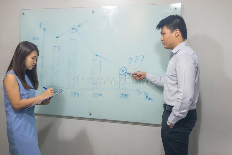 Manager die businessplannen verklaren aan zijn werknemer royalty-vrije stock foto