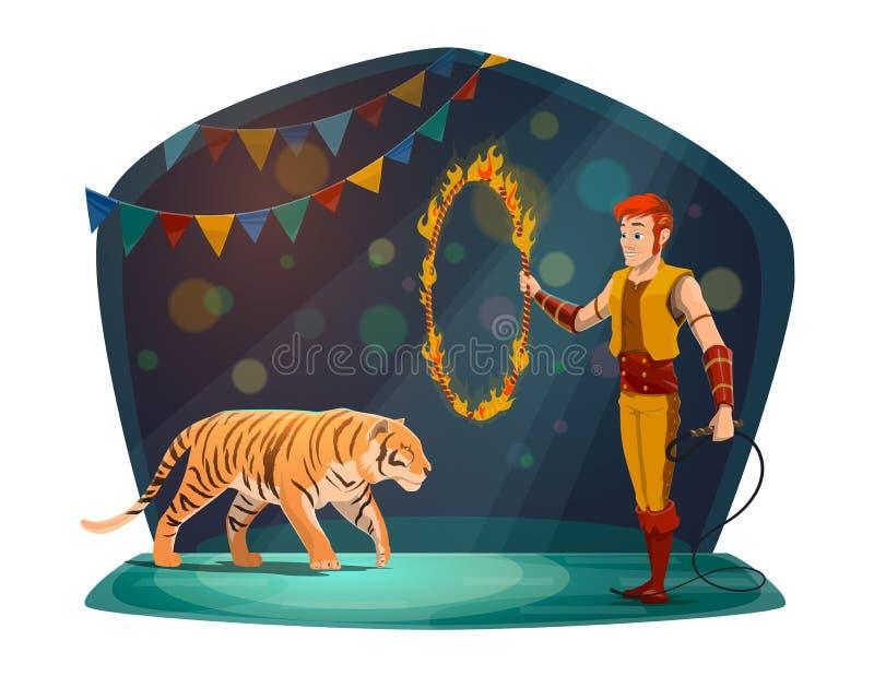 Manager die met tijger in brand op circusarena springen stock illustratie