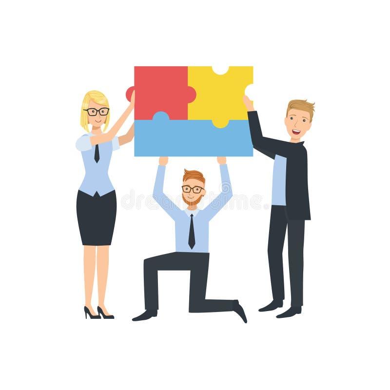 Manager, die verbundene Stücke der Puzzlespiel-Teamwork-Illustration halten vektor abbildung