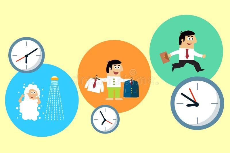 Manager die zijn bezige werkdag beginnen vector illustratie