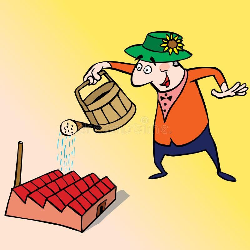 Manager die zijn installatie water geeft vector illustratie