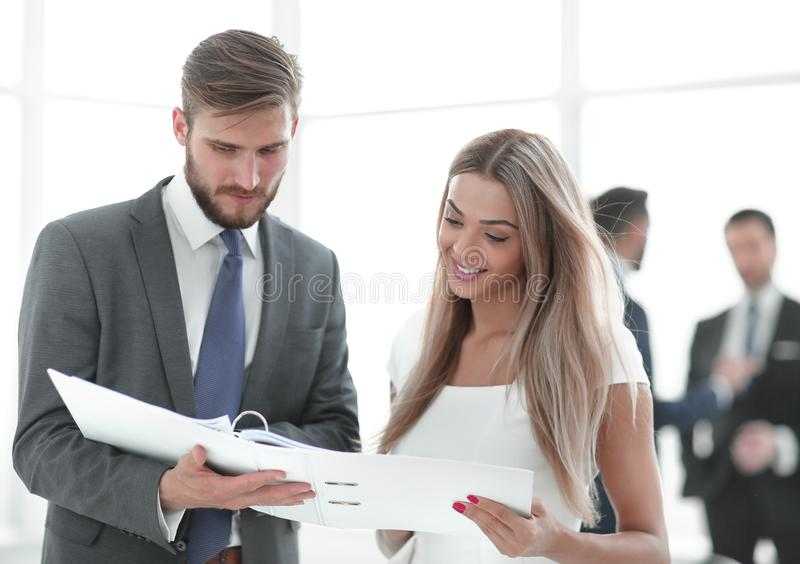 Manager discussing with the client the business document royalty free stock photos