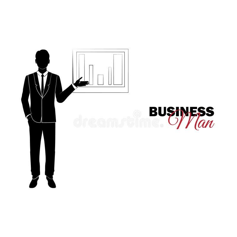 Manager Een mens in een pak De zakenman toont op grafiek vector illustratie
