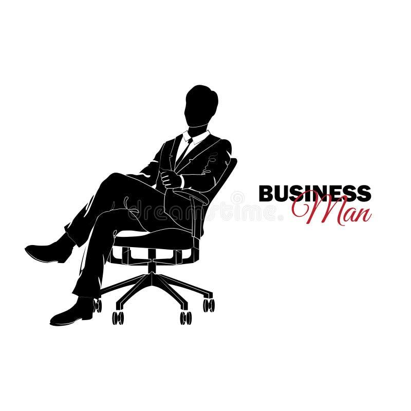 Manager Een mens in een pak Zakenmanzitting als voorzitter stock illustratie
