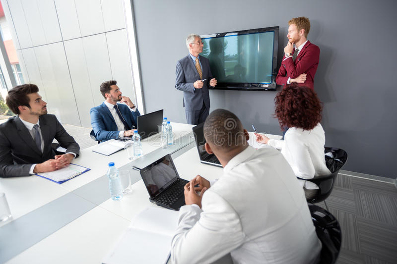 Manager with employer discus in company royalty free stock photography