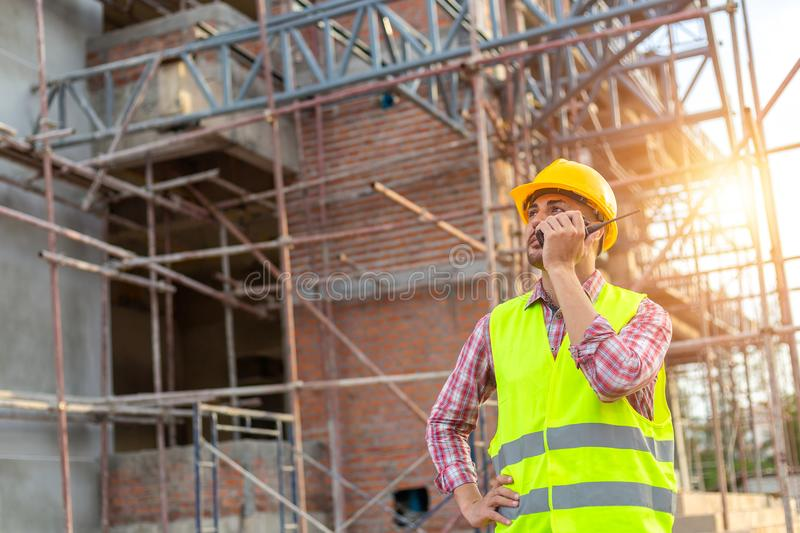 Manager Engineering in standard safety uniform working in a pour stock photos