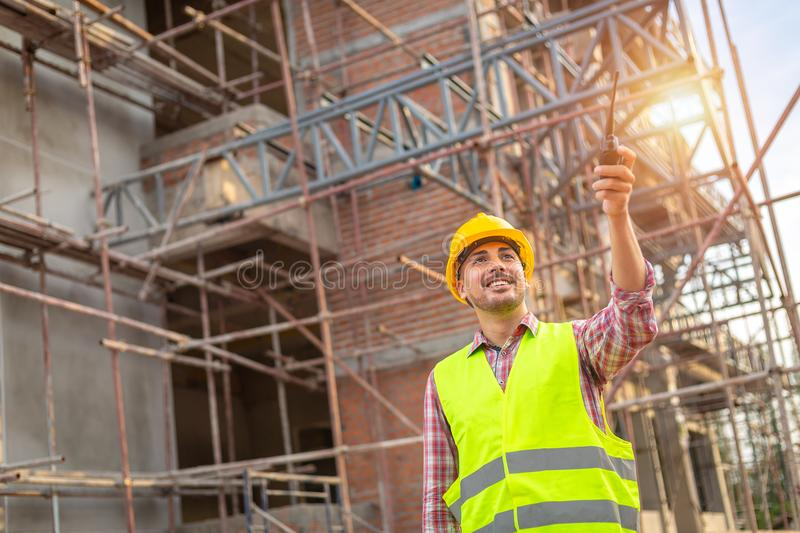 Manager Engineering in standard safety uniform working in a pour royalty free stock photography