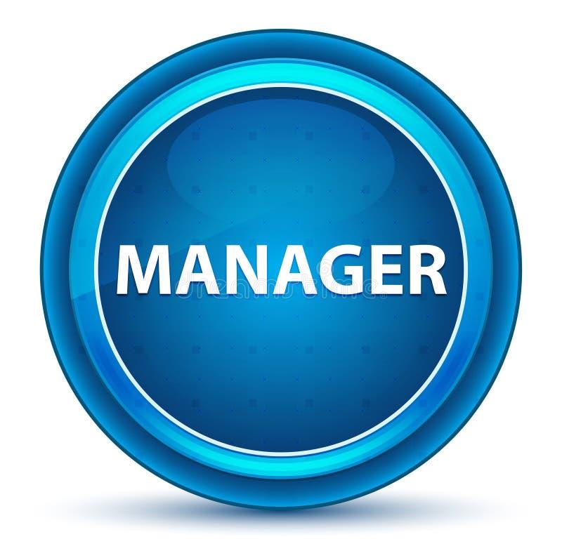Manager-Eyeball Blue Round-Knopf stock abbildung