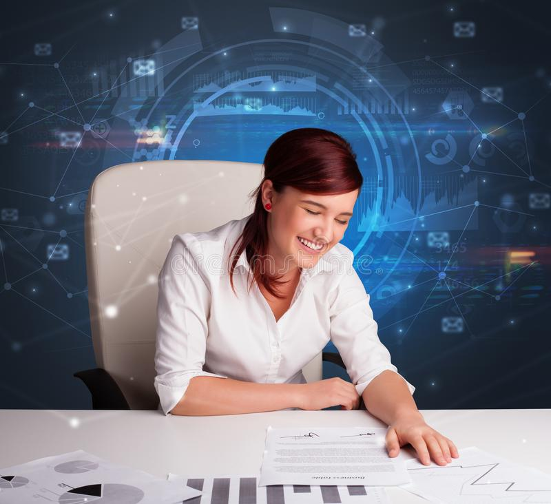 Manager in front of the office desk with communication concept stock photo