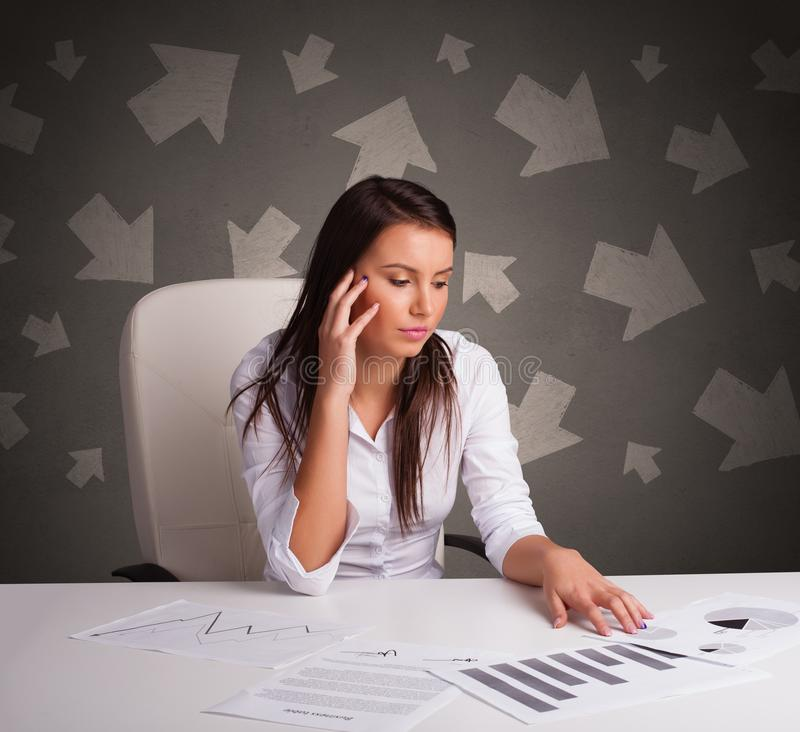 Manager in front of the office desk with direction concept royalty free stock image