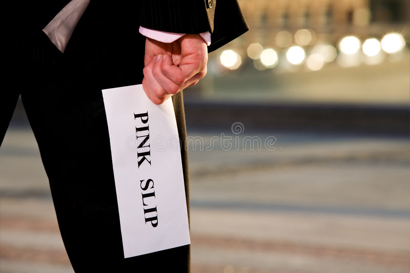 Manager giving a job termination notice Pink Slip stock images