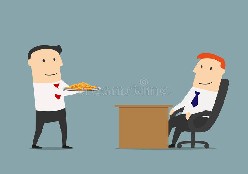 Manager giving profit on a silver platter to boss. Successful manager brings money or profit on a silver platter to businessman. Easy money or profit concept vector illustration