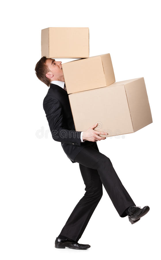 Manager handing pile of containers stock images