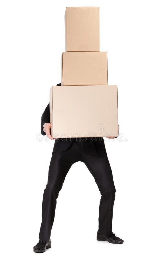 Manager handing pile of pasteboard boxes royalty free stock images