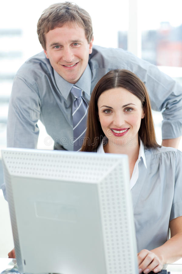 Download Manager And His Employee Smiling At The Camera Stock Photo - Image: 12191142