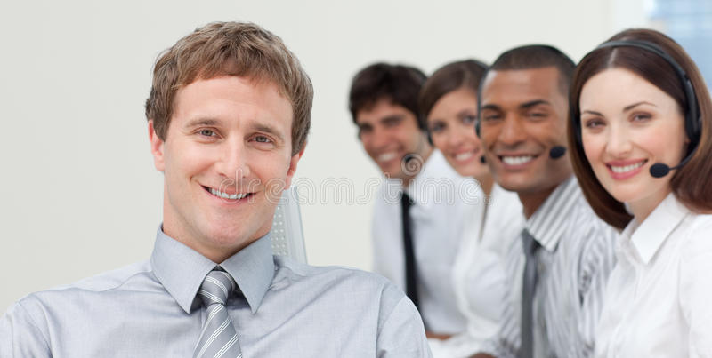 Download Manager And His Team Smiling At The Camera Stock Image - Image: 12191177
