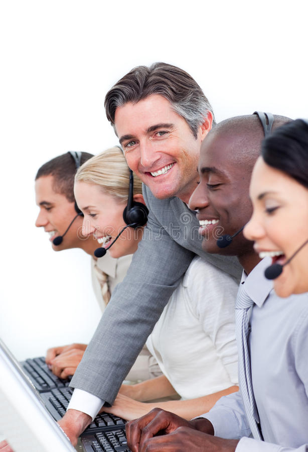 Download Manager And His Team Working In A Call Center Stock Photo - Image: 13043796