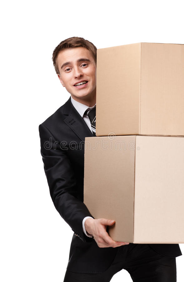 Manager Holding Pile Of Pasteboard Boxes Stock Image