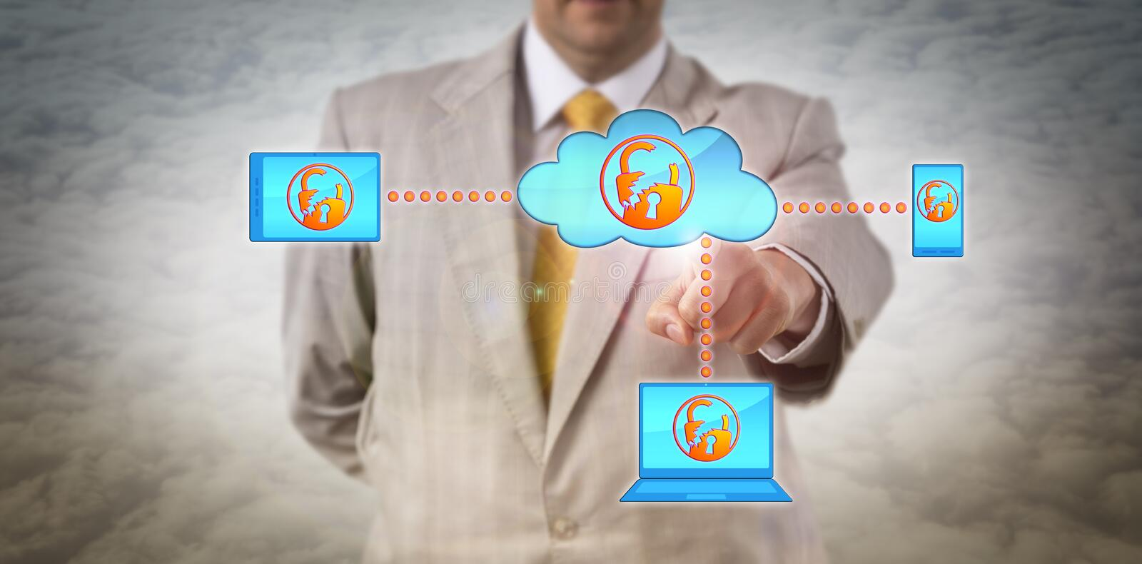 Manager Identifying Cloud Security Vulnerability. Unrecognizable male enterprise manager is identify a cyber incident in a mobile computer network. Information stock photography