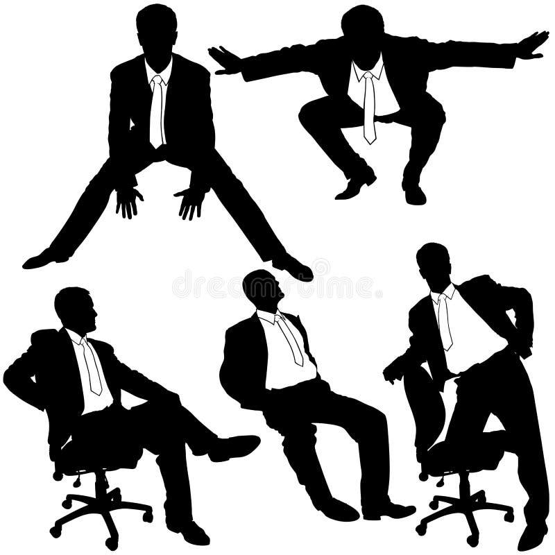 Manager im Büro - Schattenbilder lizenzfreie abbildung