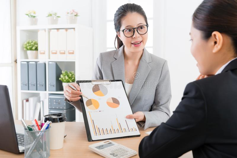 Manager introducing company marketing analysis. Young attractive women manager introducing company marketing analysis report document for her cooperation case royalty free stock image