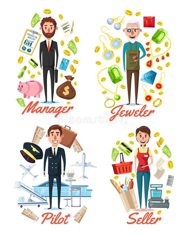 Manager, Juwelierpilot und Verkäuferberuf vektor abbildung