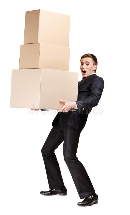Download Manager Keeping Pile Of Boxes Stock Image - Image of container, background: 27110243
