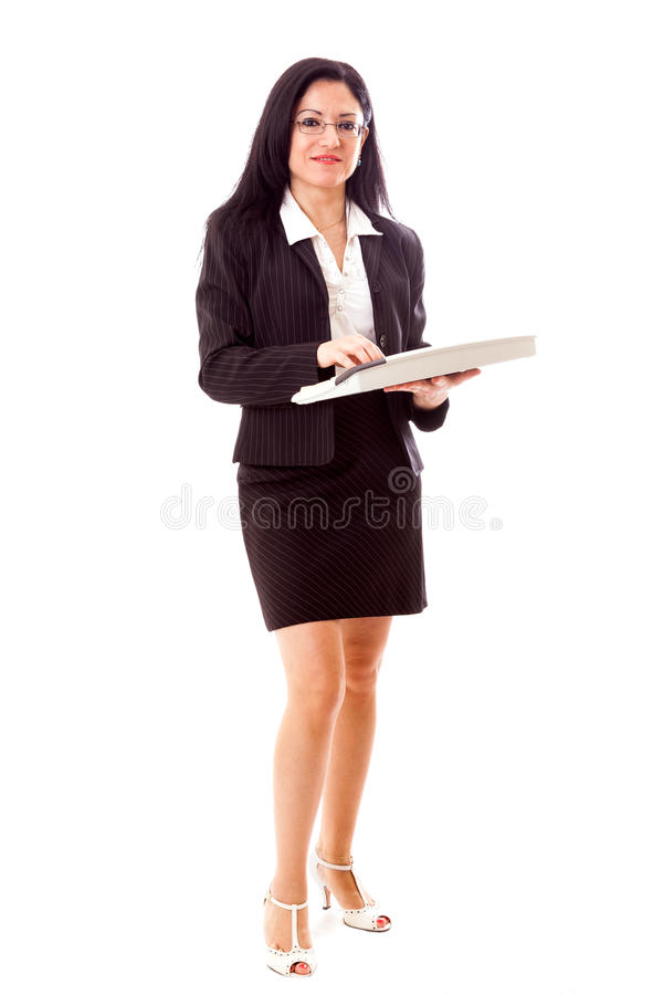 Manager With Keyboard Isolated op Wit royalty-vrije stock afbeelding