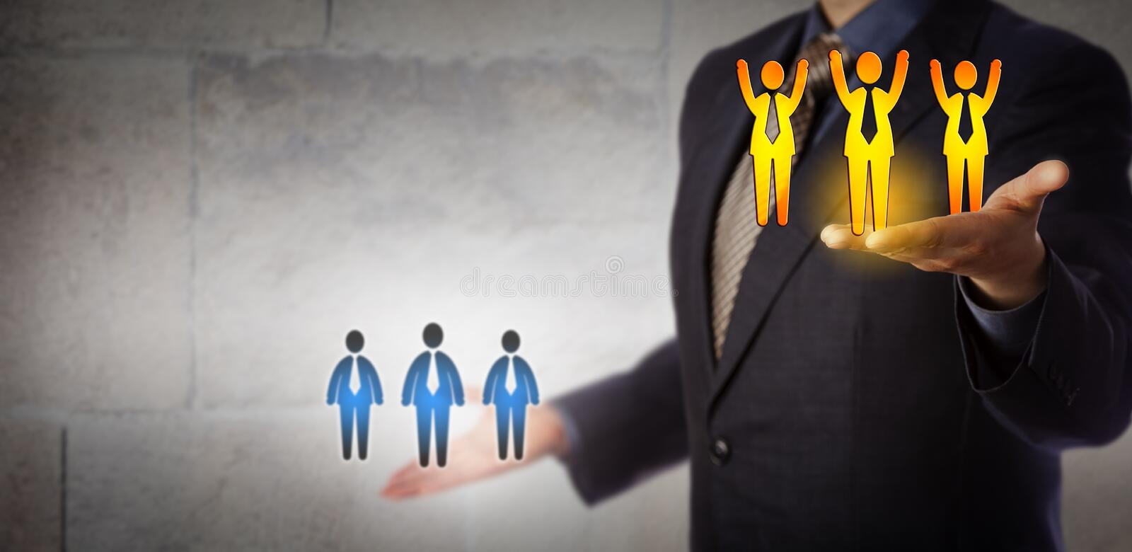 Manager Lifting Winning Team Above Average Workers royalty free stock images