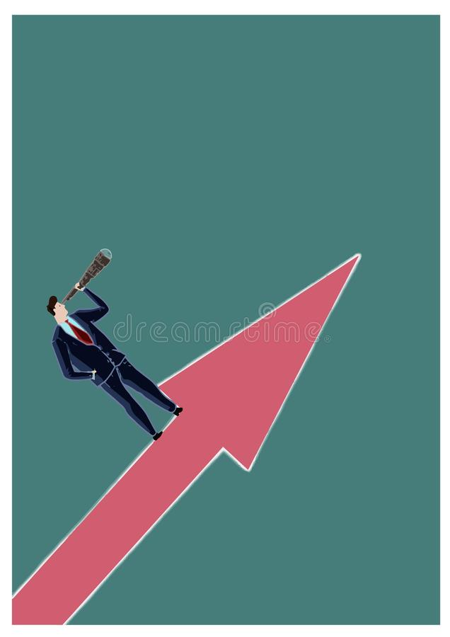 Manager looking towards success with a spyglass, standing on an arrow pointing upwards. Representation of economic and financial s royalty free stock images