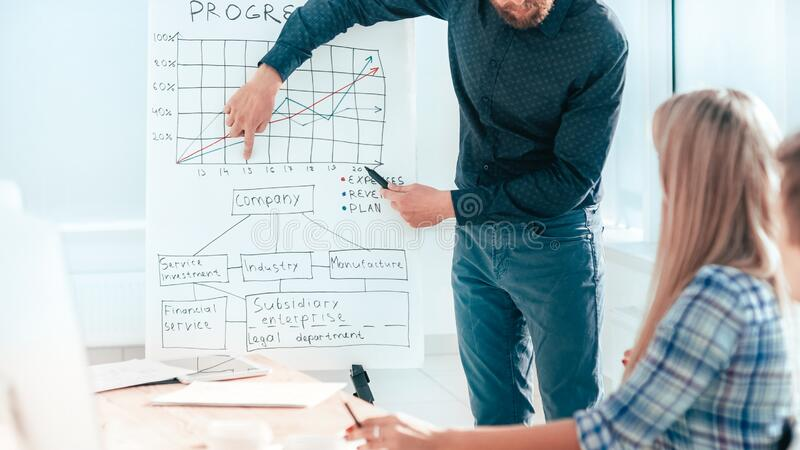 Manager makes a presentation of the new project royalty free stock images