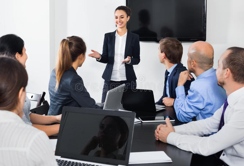 Manager making speech during business meeting royalty free stock photography
