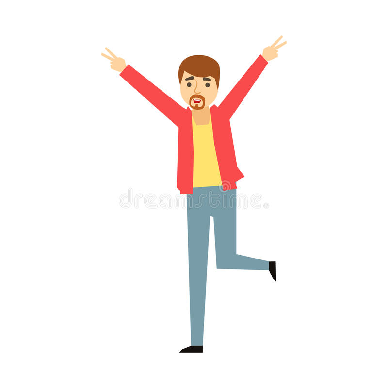 Manager Man Wth Goatee Dancing, Part Of Funny Drunk People Having Fun At The Party Series. Simple Flat Cartoon Character Smiling And Having Good Time Vector vector illustration