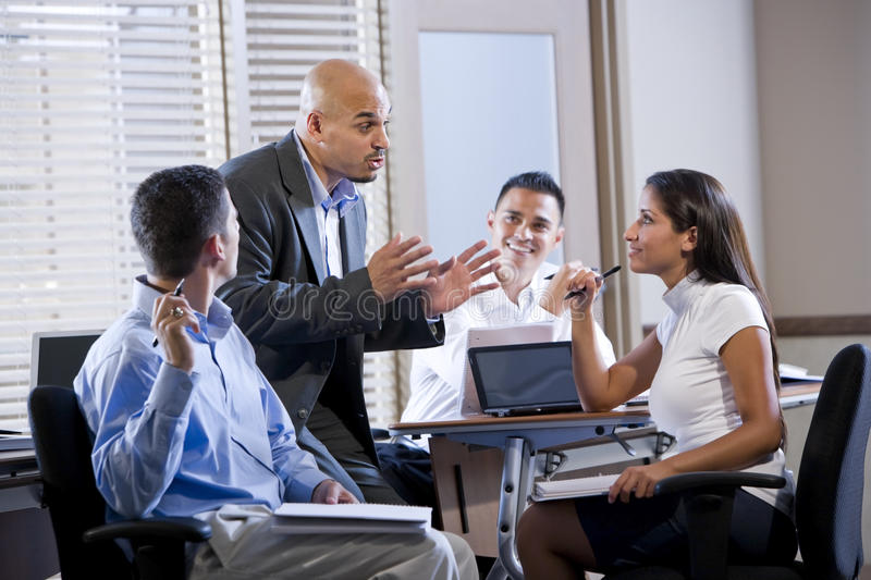 Download Manager Meeting With Office Workers, Directing Stock Image - Image: 14686019
