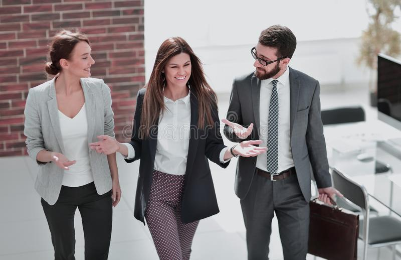 Manager meets customers in the office stock photo