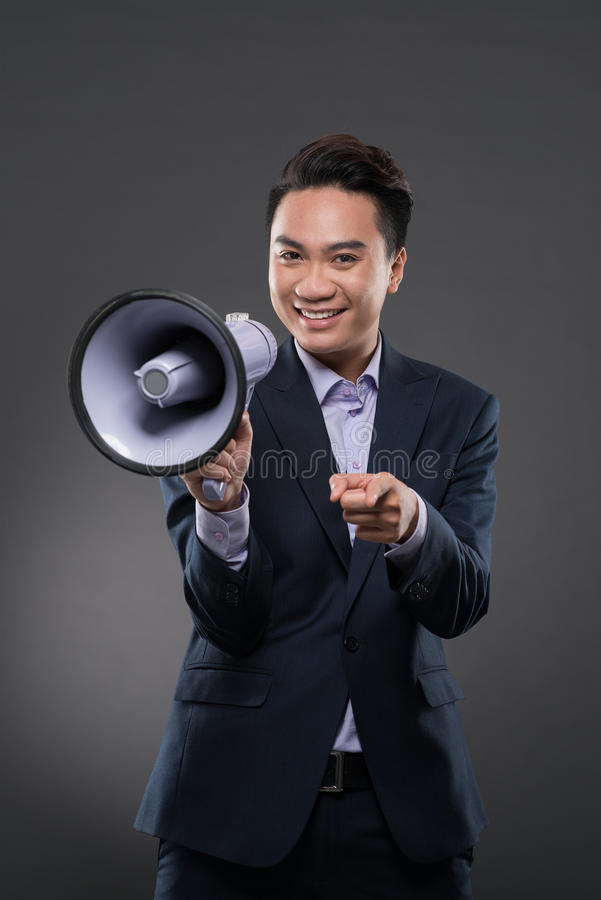 Manager met luidspreker stock foto