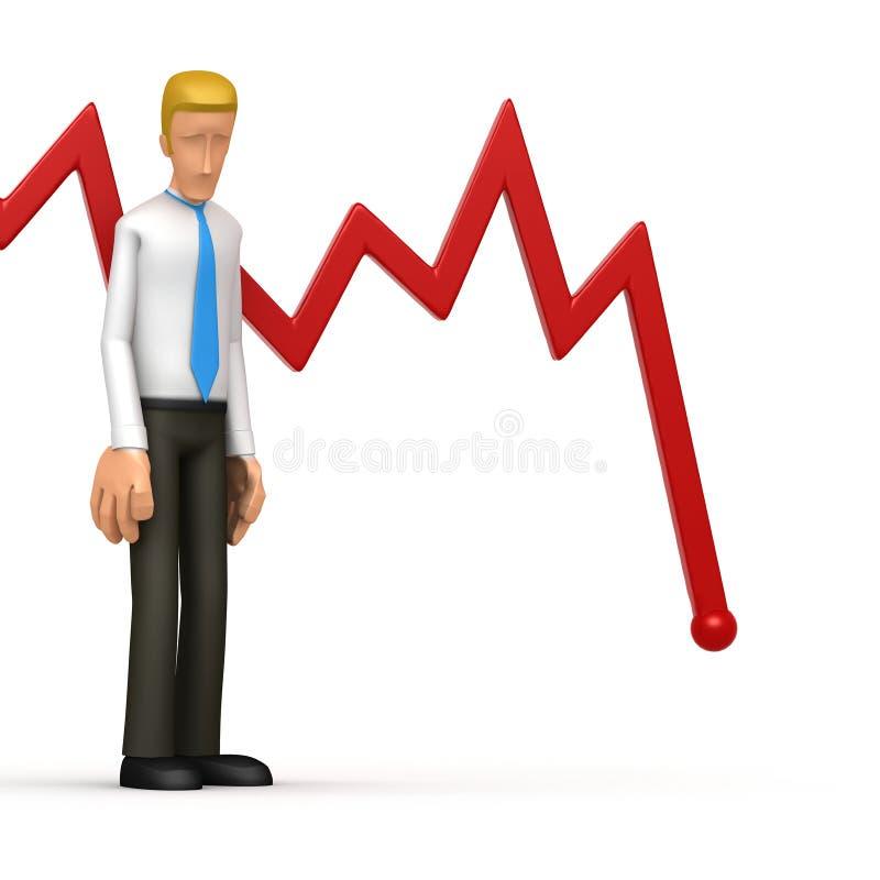 Manager met rood diagram stock illustratie