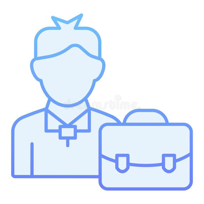 Manager mit flacher Ikone des Koffers Blaue Ikonen des Geschäftsmannes in der modischen flachen Art Mann mit Aktenkoffersteigungs lizenzfreie abbildung