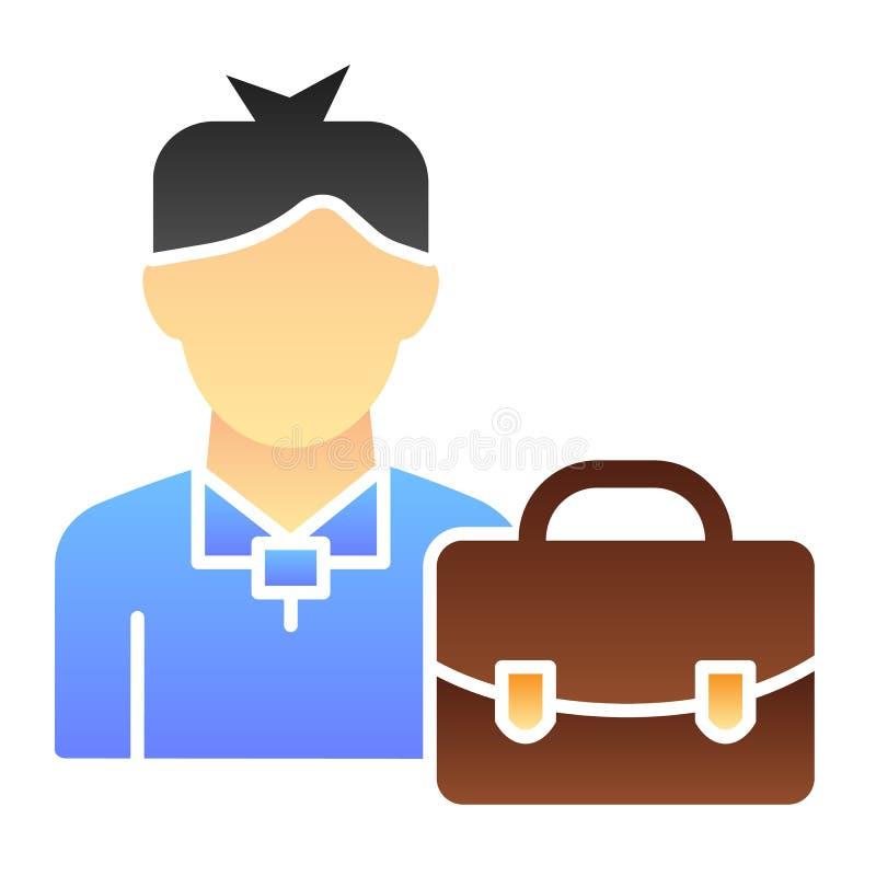 Manager mit flacher Ikone des Koffers Geschäftsmannfarbikonen in der modischen flachen Art Mann mit Aktenkoffersteigungs-Artentwu lizenzfreie abbildung