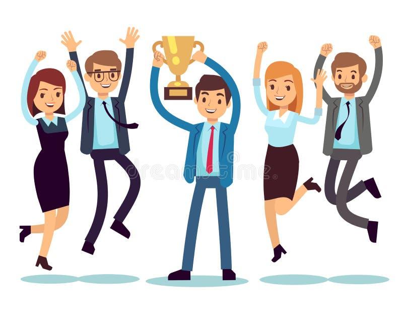 Manager mit gewinnendem Trophäencup und springenden Angestellten Flaches Konzept des Erfolgsgeschäftsteam-Vektors stock abbildung