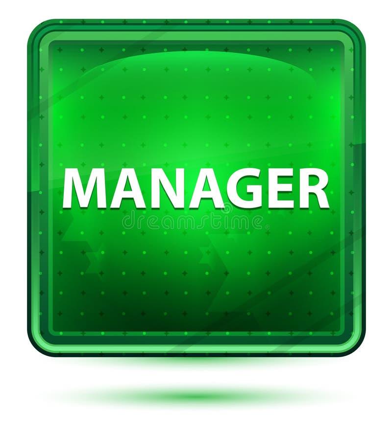 Manager-Neon Light Green-Quadrat-Knopf lizenzfreie abbildung