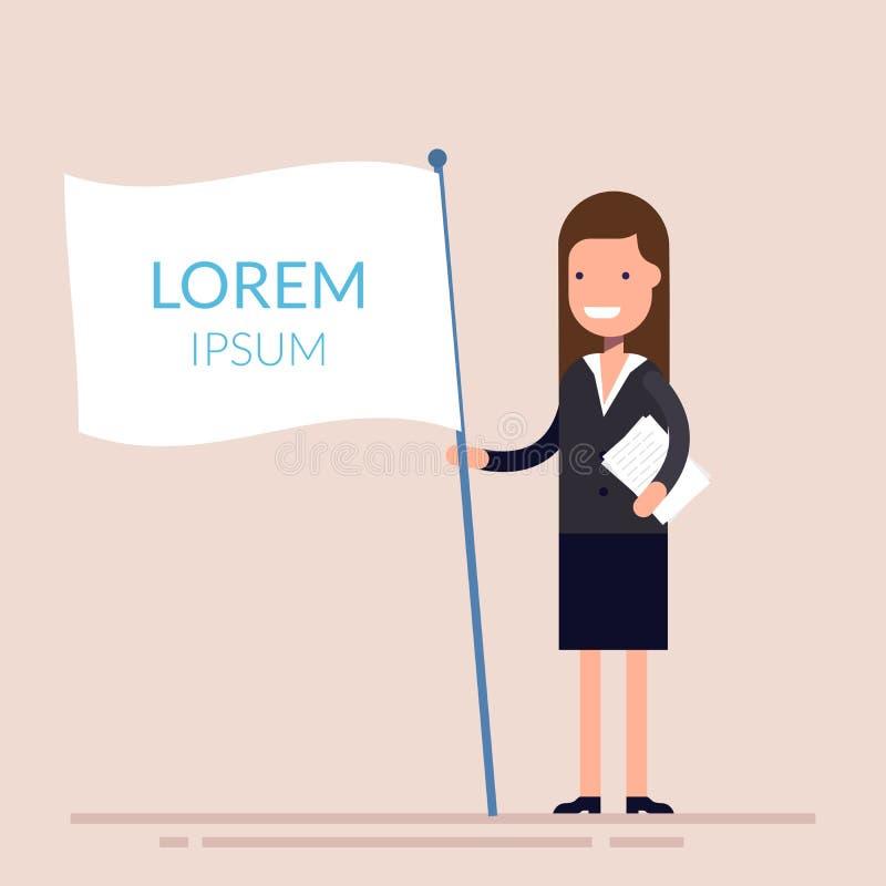 Manager oder Geschäftsfrau, die eine weiße Flagge in seiner Hand halten Flacher Charakter lokalisiert auf Hintergrund Lorem ipsum vektor abbildung