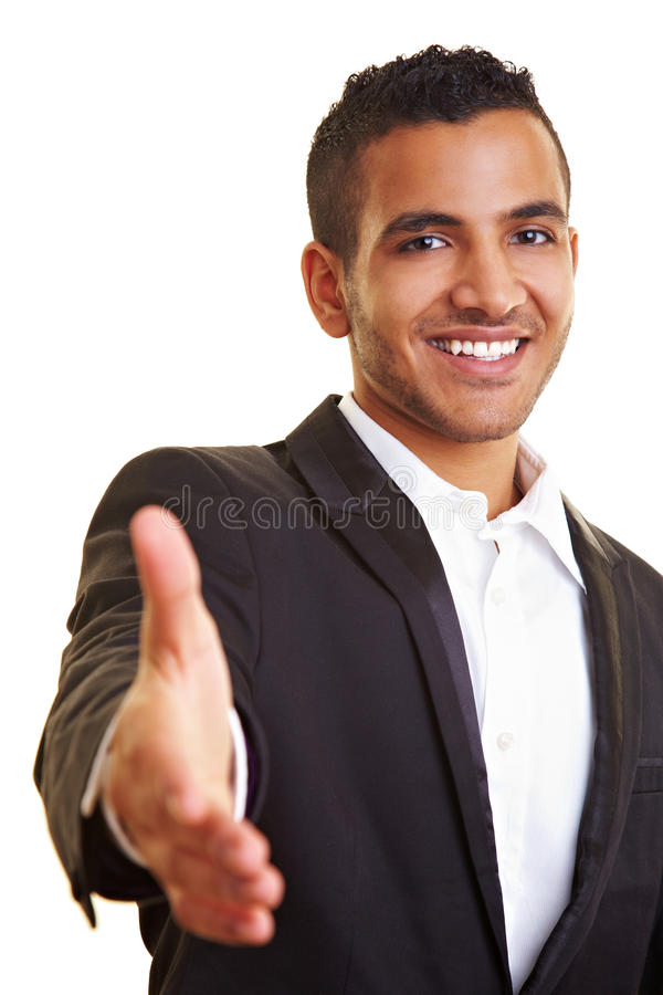 Manager offering a handshake stock image